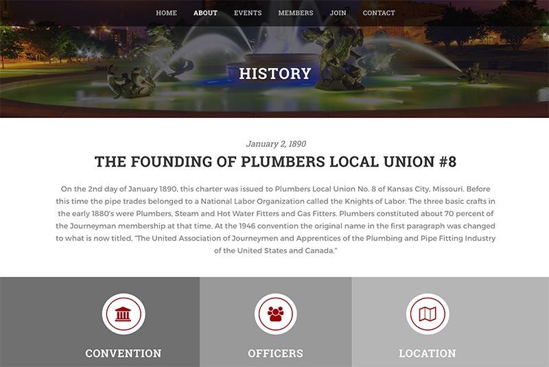 Local union organization nonprofit web design