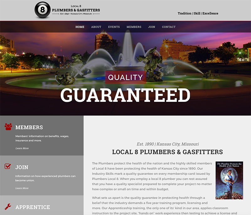 Local union organization website design