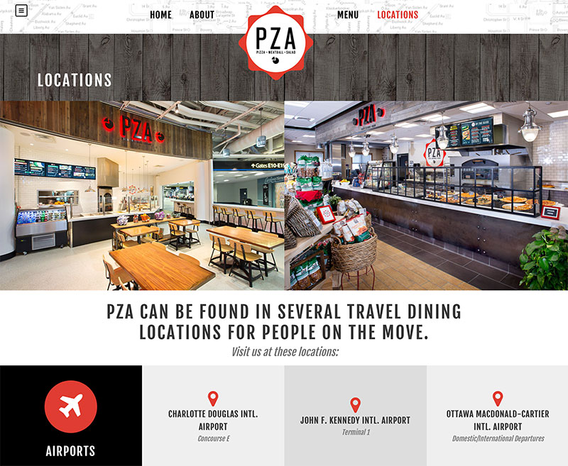 Restaurant web design for pizza restaurant