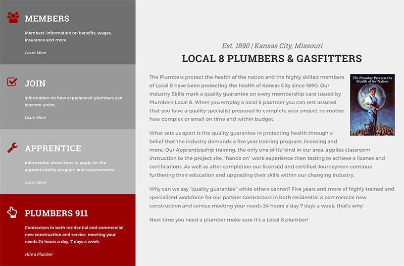 Plumbers union website design