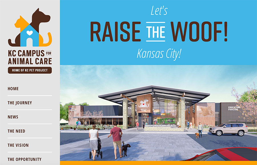Raise the Woof website design for Kansas City Pet Project