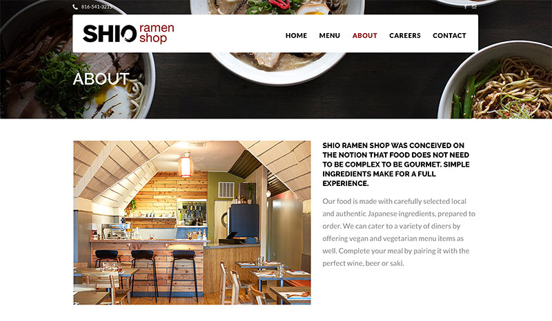 Wordpress website design for restaurants in Kansas City