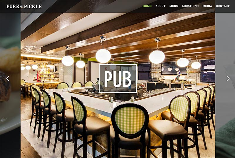 restaurant, pub, and bar website development