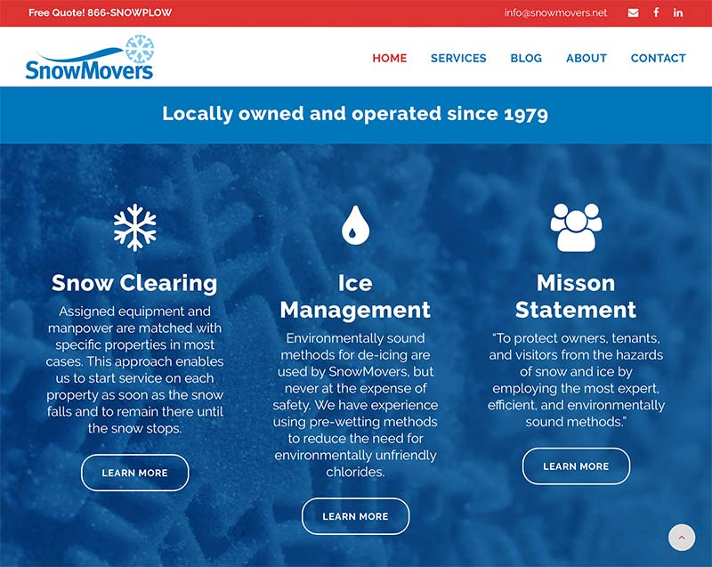 Maintenance company website design - snow and ice removal